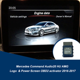 Mercedes Command Audio20 HU AMG Logo  & Power Screen OBD2 activator 2016-2017