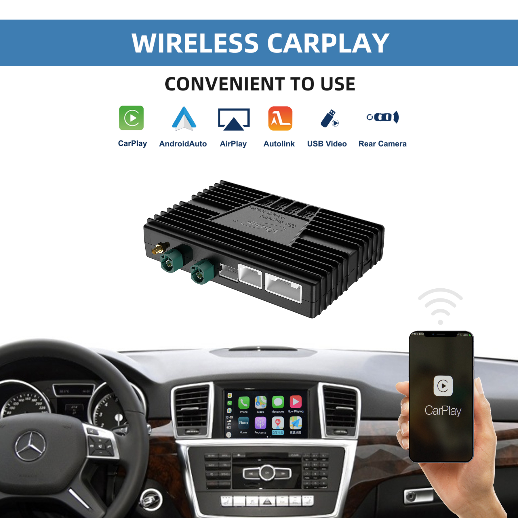 Unichip NTG4.5 NTG4.7 Wireless Apple CarPlay Smartbox for Mercedes Apple CarPlay aftermarket Apple C